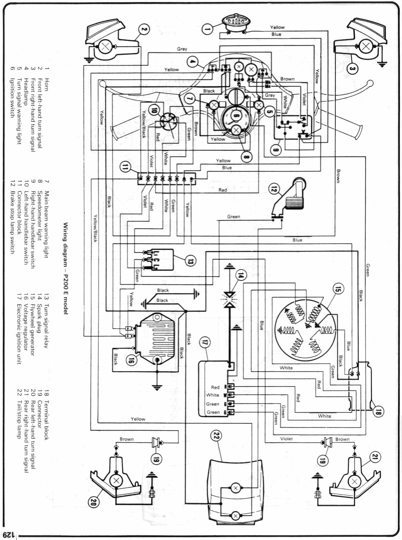Vespa P Series Maintenance Repair Wiring Diagram In 3 Terminal Voltage Regulator Batteryless